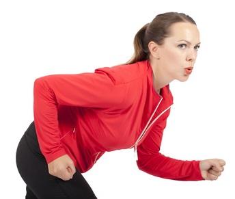 Frau beim Rennen